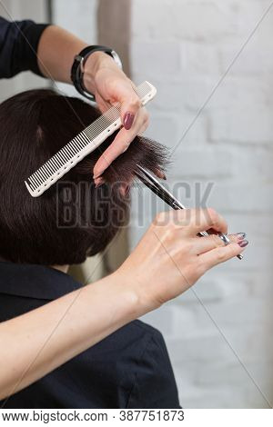 Hairdresser Doing Haircut. Professional Hairdresser Scissors, Brush On Workplace. Professional Haird