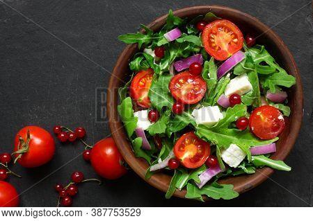 Fresh And Healthy Salad. Healthy Salad Is Balanced Diet Food. Healthy Food Concept.