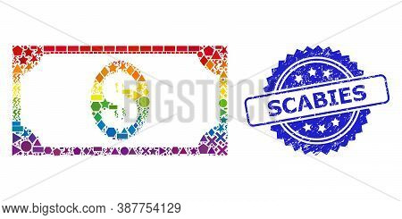 Bright Colored Vector Usd Banknote Mosaic For Lgbt, And Scabies Textured Rosette Seal. Blue Stamp Se