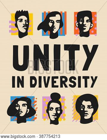 Unity In Diversity Pop Style Poster Template With Male And Female Faces, Bright Square Spots Over Ol