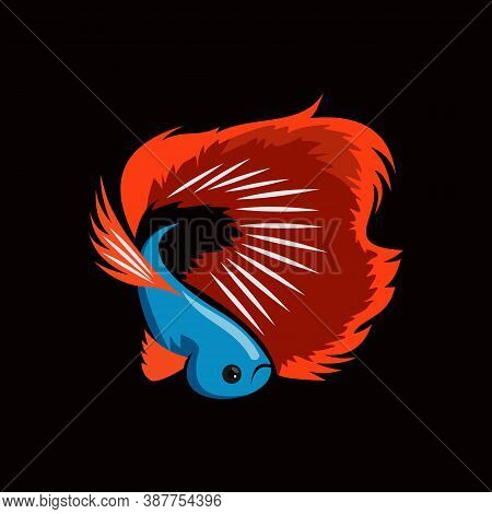 Beta Fish Vector In Flat Color Template Best For Printing Or Artistic Design Animal Illustration Ide