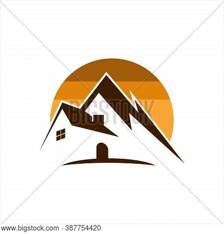 Mountain Resort Hotel Logo Design Inspiration. Tourism And Travel Business Sticker Template Idea