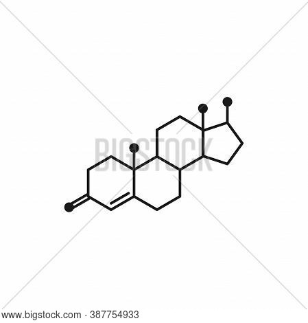 Testosterone Molecula Structure. Colorful Line Icon Isolated On White Background.