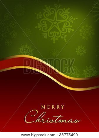 Merry Christmas greeting card, gift card or invitation card decorated with red ribbon, snowflakes on green. EPS 10. poster