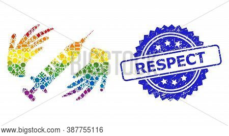 Rainbow Colored Vector Vaccine Care Hands Mosaic For Lgbt, And Respect Rubber Rosette Stamp Seal. Bl