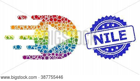 Bright Colored Vector Play Function Mosaic For Lgbt, And Nile Rubber Rosette Seal. Blue Stamp Seal I