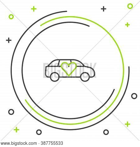 Line Luxury Limousine Car Icon Isolated On White Background. For World Premiere Celebrities And Gues
