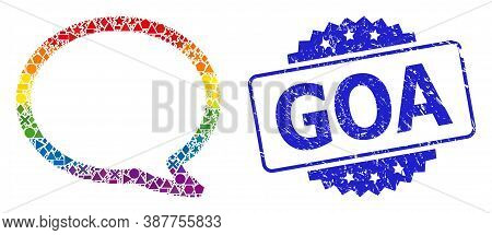 Spectrum Colored Vector Message Cloud Collage For Lgbt, And Goa Scratched Rosette Stamp Seal. Blue S