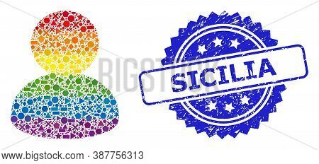 Spectrum Vibrant Vector User Mosaic For Lgbt, And Sicilia Scratched Rosette Stamp. Blue Stamp Includ