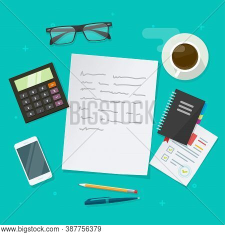 Writing Text Content Vector On Education Working Desk Table Above, Creating Essay Document, Journali