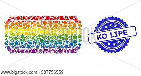 Rainbow Colored Vector Ticket Template Mosaic For Lgbt, And Ko Lipe Grunge Rosette Stamp Seal. Blue