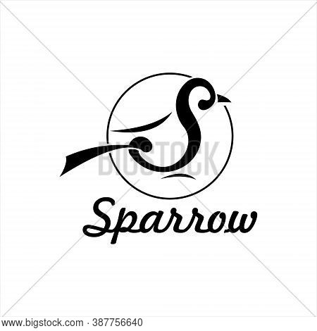 Sparrow Logo Typography Initial Design Template. Animal Or Bird Vector First Letter Playful Monogram