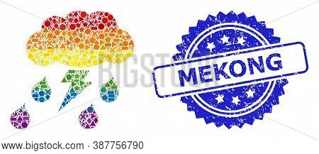 Rainbow Colorful Vector Thunderstorm Collage For Lgbt, And Mekong Textured Rosette Seal Print. Blue