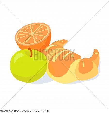 Brakfast Illustration Of Croissant, Green Apple And Half Of Orange. Vector Design