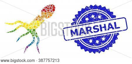 Rainbow Colorful Vector Virus Structure Collage For Lgbt, And Marshal Dirty Rosette Seal Print. Blue