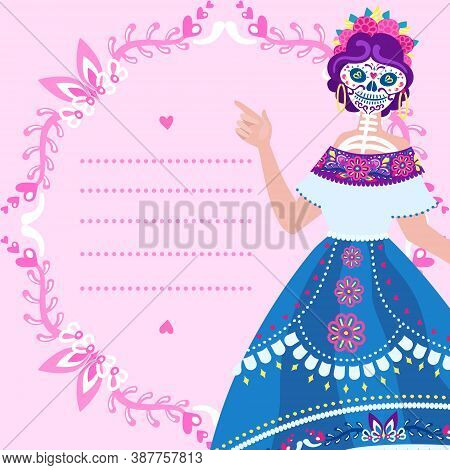 Dia De Los Muertos - Square Greeting Card With Place For Text And Catrina. Cute Layout Of Blank With