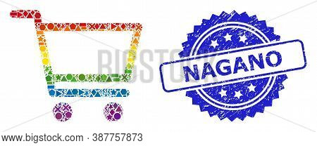 Spectrum Colorful Vector Shopping Cart Mosaic For Lgbt, And Nagano Corroded Rosette Stamp Seal. Blue