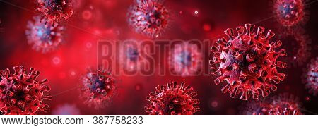Covid-19 Or Sars-cov-2 In Liquid - Coronavirus In Red Background - 3d Illustration