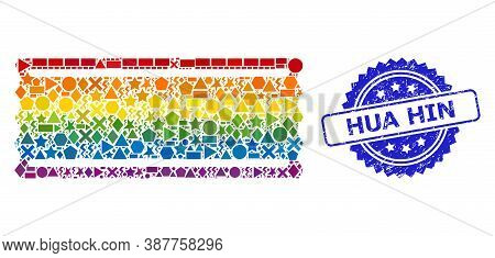 Bright Colored Vector Ticket Template Mosaic For Lgbt, And Hua Hin Unclean Rosette Seal Imitation. B