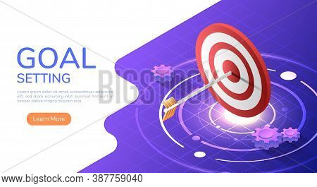 3d Isometric Web Banner Arrow Hit The Center Of The Big Target. Business Target And Business Success