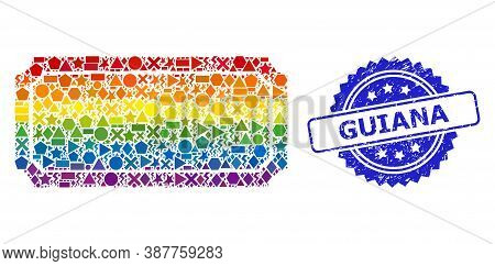 Bright Colored Vector Ticket Frame Collage For Lgbt, And Guiana Corroded Rosette Seal. Blue Stamp Se