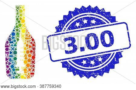 Rainbow Colored Vector Narcotic Alcohol Mosaic For Lgbt, And 3.00 Dirty Rosette Stamp Seal. Blue Sta