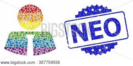 Bright Colored Vector Mister Mosaic For Lgbt, And Neo Scratched Rosette Seal. Blue Seal Contains Neo