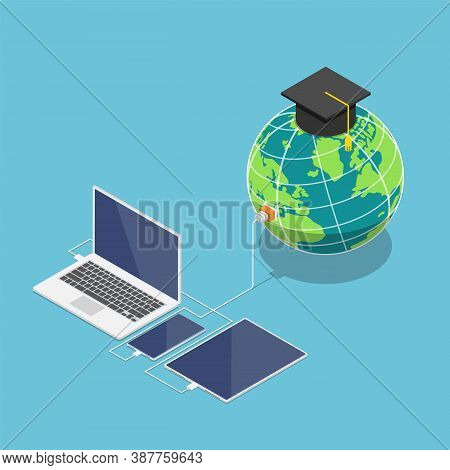 Flat 3d Isometric World With Graduation Cap Connected To Laptop Smartphone And Tablet. Global Online