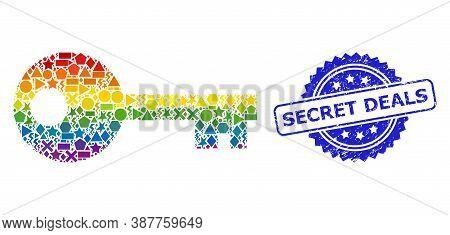 Spectrum Colorful Vector Key Collage For Lgbt, And Secret Deals Textured Rosette Stamp Seal. Blue St