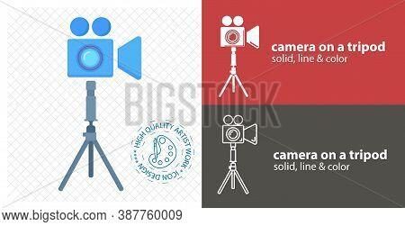 Video Camera On Tripod Flat Icon. Line Icon