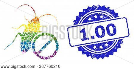 Bright Vibrant Vector No Cockroach Mosaic For Lgbt, And 1.00 Textured Rosette Seal Print. Blue Stamp