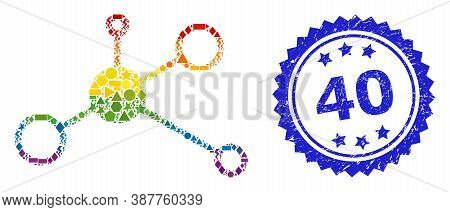 Spectrum Colorful Vector Masternode Collage For Lgbt, And 40 Dirty Rosette Seal Print. Blue Stamp Se