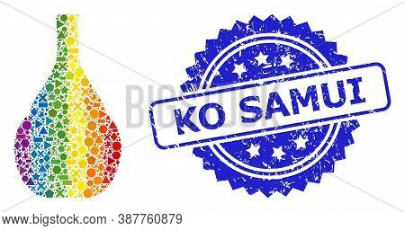 Bright Vibrant Vector Wine Jug Collage For Lgbt, And Ko Samui Rubber Rosette Seal Imitation. Blue St