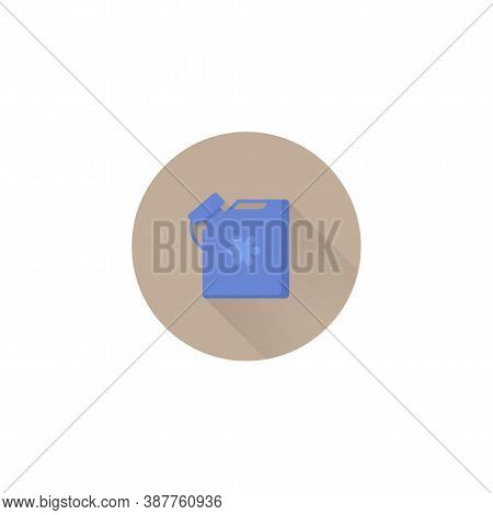 Antifreeze Jerrycan Colorful Vector Flat Icon With Long Shadow