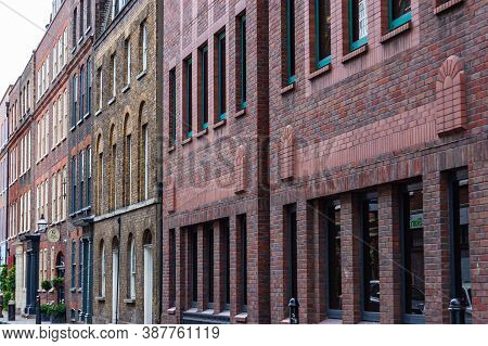 London, United Kingdom - September 14, 2017: Classic Multicolor Brick Facades In London Midtown. Vib
