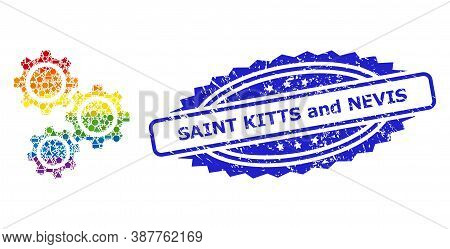 Bright Vibrant Vector Gears Collage For Lgbt, And Saint Kitts And Nevis Grunge Rosette Seal Imitatio