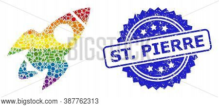 Rainbow Colored Vector Rocket Flight Collage For Lgbt, And St. Pierre Dirty Rosette Stamp Seal. Blue