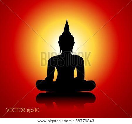 Schwarze Buddha-Silhouette vor rotem Hintergrund