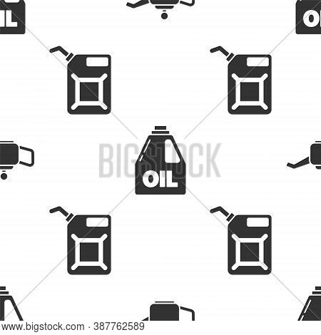 Set Canister For Motor Machine Oil, Canister For Motor Machine Oil And Canister For Gasoline On Seam