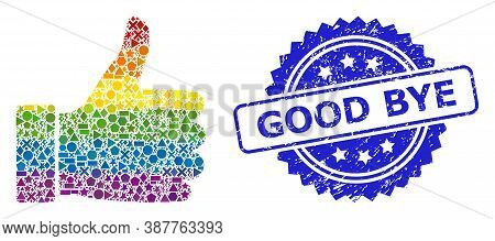 Rainbow Colorful Vector Thumb Up Mosaic For Lgbt, And Good Bye Textured Rosette Seal Imitation. Blue