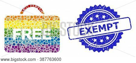 Bright Colorful Vector Free Case Collage For Lgbt, And Exempt Dirty Rosette Seal Imitation. Blue Sea