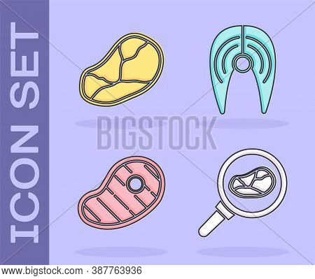 Set Steak Meat In Frying Pan, Steak Meat, Steak Meat And Fish Steak Icon. Vector