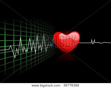 Cardiogram with red heart shape on black background. EPS 10.