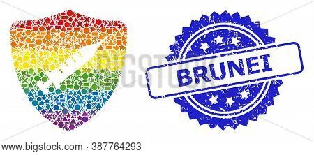 Rainbow Colorful Vector Shield Vaccine Collage For Lgbt, And Brunei Unclean Rosette Stamp Seal. Blue