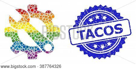 Rainbow Colorful Vector Service Tools Collage For Lgbt, And Tacos Textured Rosette Stamp Seal. Blue