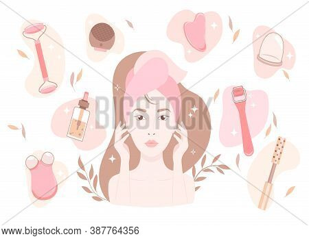 Silhouette Of A Womans Face With Beauty Gadgets. Excellent Female Skin With A Facial Roller, Massage