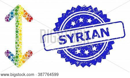 Spectrum Colorful Vector Swap Arrows Vertically Mosaic For Lgbt, And Syrian Scratched Rosette Seal P