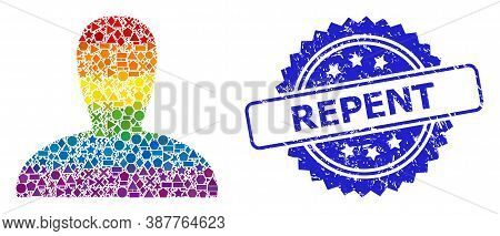 Bright Colorful Vector Spawn Persona Collage For Lgbt, And Repent Scratched Rosette Seal Print. Blue