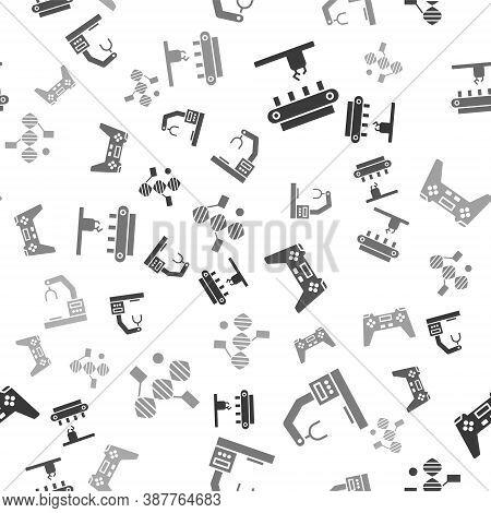Set Factory Conveyor System Belt, Robotic Robot Arm Hand Factory, Gamepad And Dna Symbol On Seamless