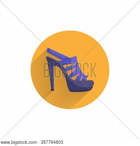 Women's Heeled Sandals Colorful Flat Icon With Long Shadow. Heels Flat Icon